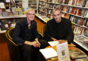 "Jan Fleischmann and myself at the release party for our snow leopard book ""Snöleopard"". It was released on the International Snow Leopard Day, 23 October 2014."